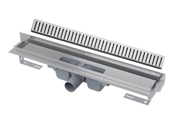 """Edelstahl-Bodenablaufrinne mit Wandflansch 850mm inkl. Edelstahlrost """"Pure"""""""