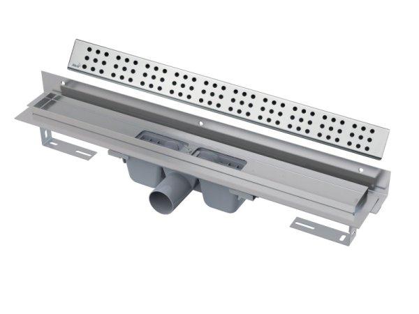 """Edelstahl-Bodenablaufrinne mit Wandflansch 950mm inkl. Edelstahlrost """"Cube"""""""