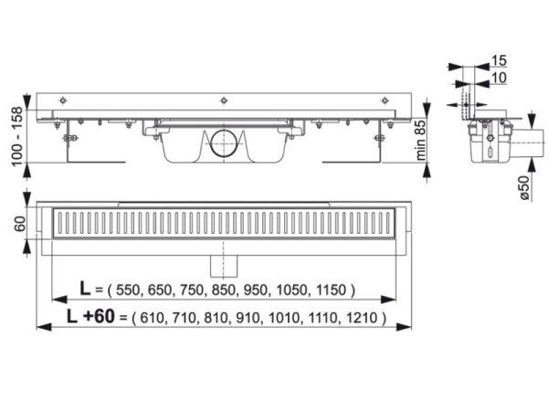 """Edelstahl-Bodenablaufrinne mit Wandflansch 750mm inkl. Edelstahlrost """"Buble"""""""
