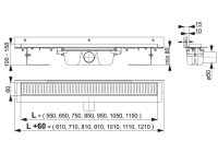 Edelstahl-Bodenablaufrinne mit Wandflansch 850mm inkl....