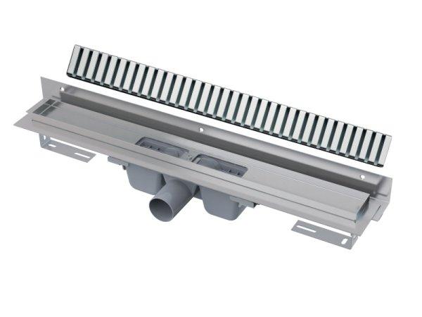 """Edelstahl-Bodenablaufrinne mit Wandflansch (extra flach) 850mm inkl. Edelstahlrost """"Line"""""""