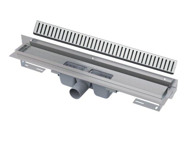 """Edelstahl-Bodenablaufrinne mit Wandflansch (extra flach) 750mm inkl. Edelstahlrost """"Pure"""""""