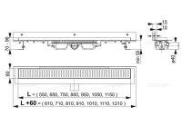 """Edelstahl-Bodenablaufrinne mit Wandflansch (extra flach) 850mm inkl. Edelstahlrost """"Dream"""""""