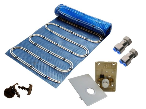 5,0m² Warmwasser Fußbodenheizung AquaDur Plus Paket Regelbox SI-RTL