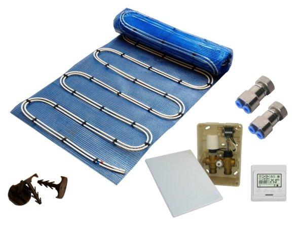 10,0m² Warmwasser Fußbodenheizung AquaDur Plus Paket Regelbox E-Regelbox Digital