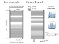 Badheizkörper Line, 500 x 1215 mm, pergamon