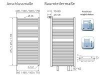 Badheizkörper Line, 600 x 1215 mm, pergamon