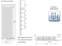 Badheizkörper  SOFTCUBE, 570 x 1800 mm, weiss matt, Glasfront weiß