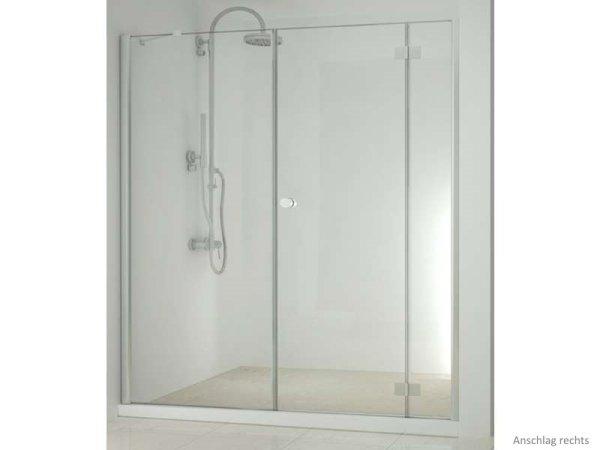 Dreh-Nischen-Duschtür 190 cm+Seitenwand, Anschlag rechts