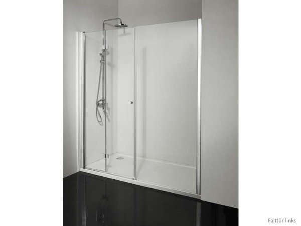 Faltduschtür mit Seitenwand, 150 cm, Falttür rechts