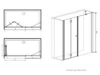 Faltduschtür mit Seitenwand, 190 cm, Falttür rechts