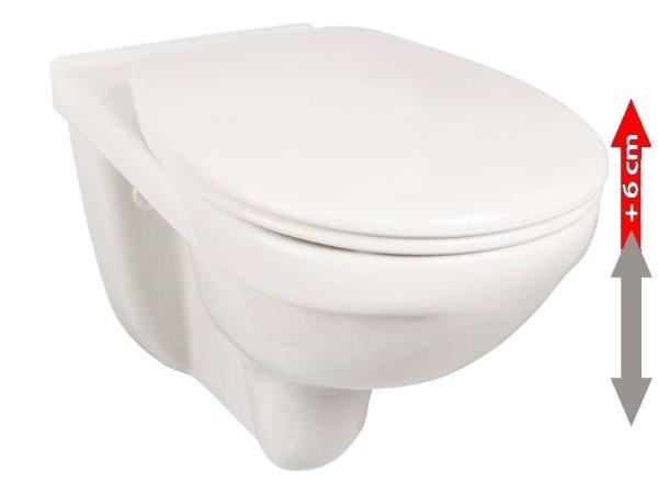 Spülrandloses Erhöhtes Wand-WC, Sitzfläche 6 cm erhöht