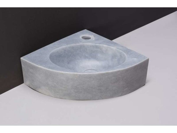 Naturstein-Eck-Handwaschbecken Turino Marmor, matt geschliffen, 30 x 30 x 10 cm