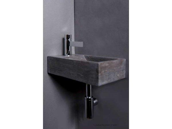 Naturstein-Handwaschbecken Venetia Bluestone, matt geschliffen, 40 x 22 x 10 cm, mit Hahnloch