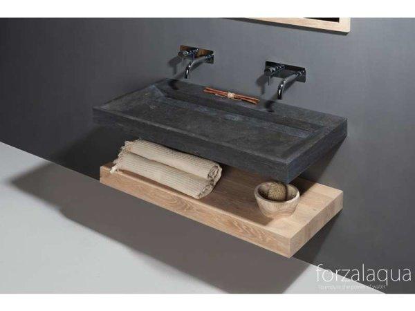 Naturstein-Waschtisch BELLEZZA Bluestone, matt geschliffen, 120,5 x 51,5 x 9 cm, ohne Hahnloch
