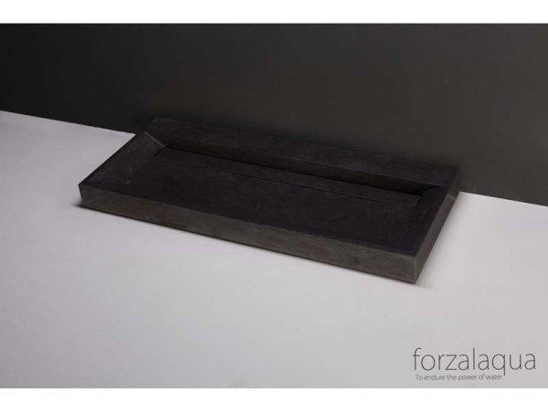 Naturstein-Doppelwaschtisch BELLEZZA Bluestone, matt geschliffen, 120,5 x 51,5 x 9 cm, mit Hahnlöchern