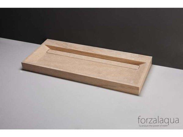 Naturstein-Doppelwaschtisch BELLEZZA Travertin, matt geschliffen, 120,5 x 51,5 x 9 cm, mit Hahnlöchern