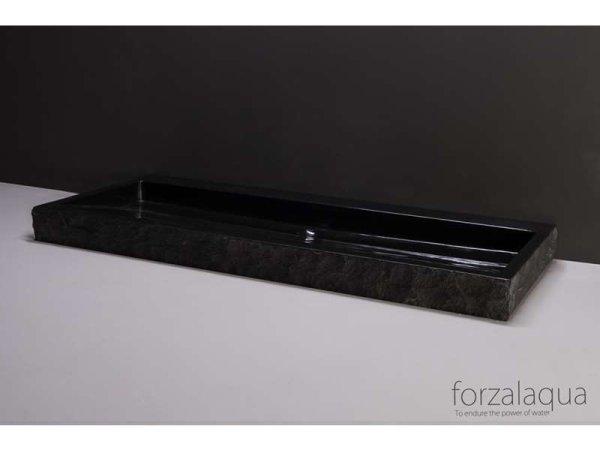 Naturstein-Doppelwaschtisch PALERMO Granit, gespitzt, 120,5 x 51,5 x 9 cm, mit Hahnlöchern