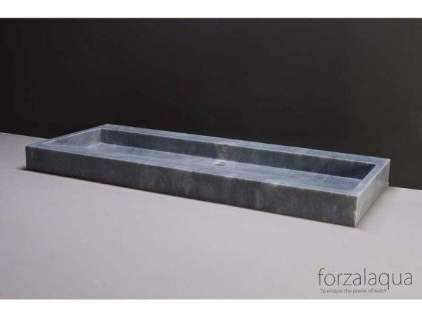 Naturstein-Doppelwaschtisch PALERMO Marmor, matt geschliffen, 120,5 x 51,5 x 9 cm, mit Hahnlöchern