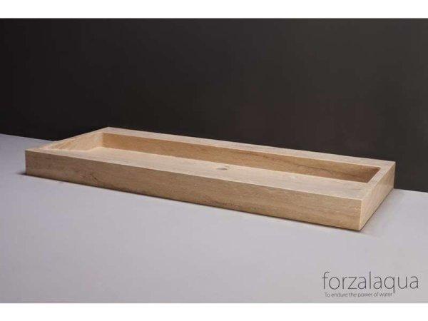 Naturstein-Doppelwaschtisch PALERMO Travertin, matt geschliffen, 120,5 x 51,5 x 9 cm, mit Hahnlöchern