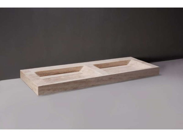 Naturstein-Doppelwaschtisch PALERMO DOPPIO Travertin, matt geschliffen, 140,5 x 51,5 x 9 cm, 2 Hahnlöcher