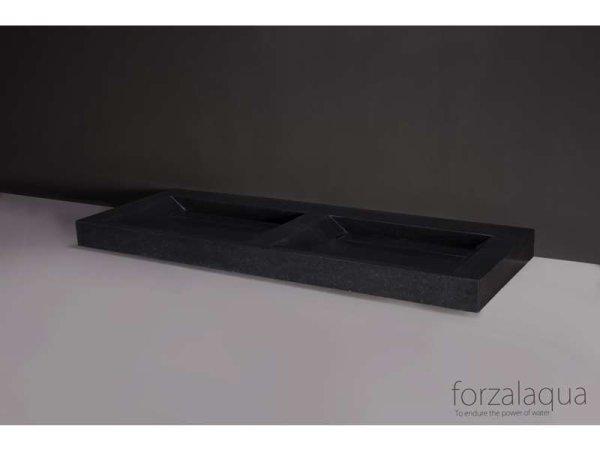 Naturstein-Doppelwaschtisch PALERMO DOPPIO Basalt, matt geschliffen, 140,5 x 51,5 x 9 cm, ohne Hahnloch