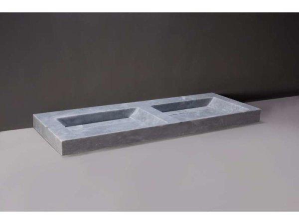 Naturstein-Doppelwaschtisch BELLEZZA DOPPIO Marmor, matt geschliffen, 140,5 x 51,5 x 9 cm, ohne Hahnloch