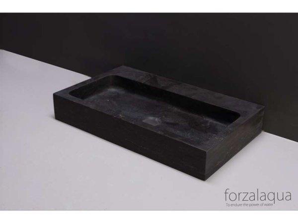 Naturstein-Waschtisch TARANTO Bluestone, matt geschliffen, 50 x 30 x 8 cm, mit Hahnloch