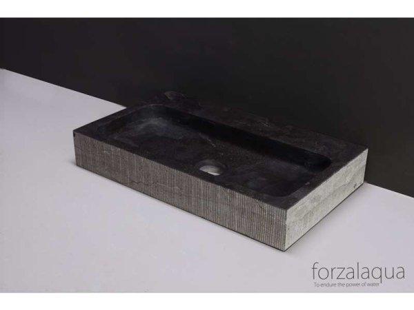 Naturstein-Waschtisch TARANTO Bluestone, gemeisselt, 50 x 30 x 8 cm, mit Hahnloch