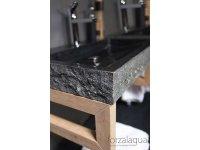 Naturstein-Waschtisch PALERMO Granit, gespitzt, 60 x 40 x 9 cm, mit Hahnloch