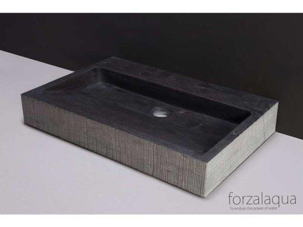 Naturstein-Waschtisch PALERMO Bluestone, gemeisselt, 60 x 40 x 9 cm, mit Hahnloch