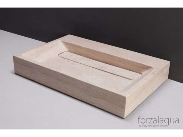 Naturstein-Waschtisch BELLEZZA Travertin, matt geschliffen, 80,5 x 51,5 x 9 cm, mit 2 Hahnlöcher