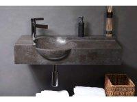 Naturstein-Waschtisch LAGUNA Bluestone, matt geschliffen, 80 x 40 x 12/15 cm, mit Hahnloch