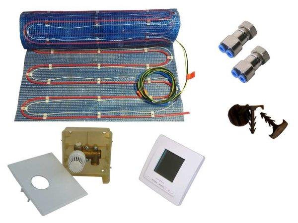 Warmwasser/Elektro Fussbodenheizung HoWaTech Variant 7,5m² Set Digital