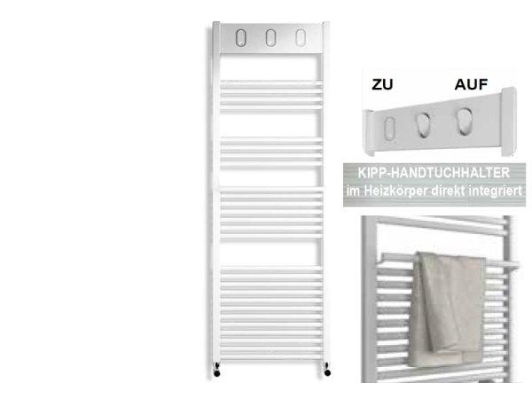 Badheizkörper Baden mit integrierten Handtuchhaltern, 50 cm * 139,3 cm, weiß, gerade, Anschluss rechts/links-unten